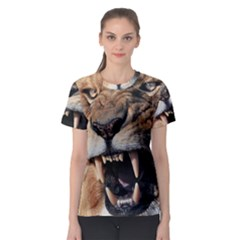 Male Lion Angry Women s Sport Mesh Tee