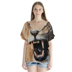 Male Lion Angry V Neck Flutter Sleeve Top