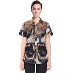 Male Lion Angry Women s Short Sleeve Shirt
