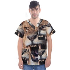 Male Lion Angry Men s V Neck Scrub Top