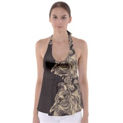 Angry Male Lion Babydoll Tankini Top