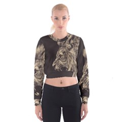 Angry Male Lion Cropped Sweatshirt