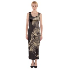 Angry Male Lion Fitted Maxi Dress