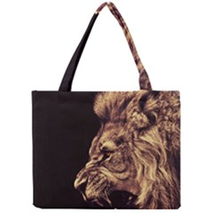 Angry Male Lion Gold Mini Tote Bag
