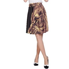Angry Male Lion Gold A Line Skirt