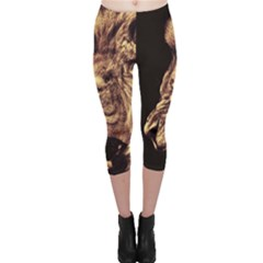 Angry Male Lion Gold Capri Leggings