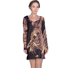 Angry Male Lion Gold Long Sleeve Nightdress