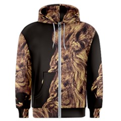 Angry Male Lion Gold Men s Zipper Hoodie