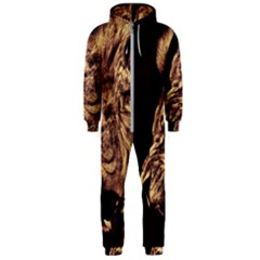 Angry Male Lion Gold Hooded Jumpsuit (men)