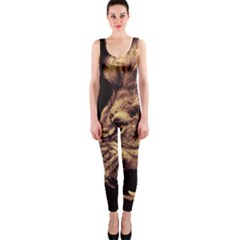 Angry Male Lion Gold Onepiece Catsuit