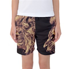 Angry Male Lion Gold Women s Basketball Shorts