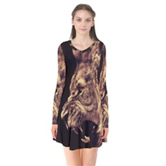 Angry Male Lion Gold Flare Dress
