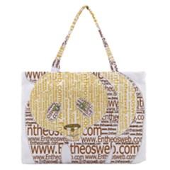 Panda Typography Zipper Medium Tote Bag