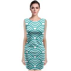 Art Deco Teal Sleeveless Velvet Midi Dress