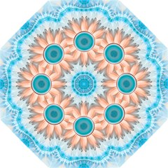 Clean And Pure Turquoise And White Fractal Flower Golf Umbrellas
