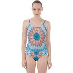 Clean And Pure Turquoise And White Fractal Flower Cut Out Top Tankini Set