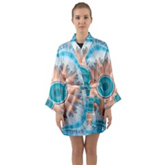 Clean And Pure Turquoise And White Fractal Flower Long Sleeve Kimono Robe