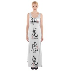 Chinese Zodiac Signs Maxi Thigh Split Dress