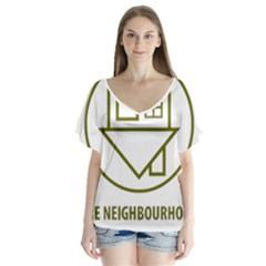 The Neighbourhood Logo V Neck Flutter Sleeve Top
