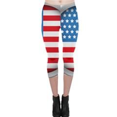 United Of America Usa Flag Capri Leggings