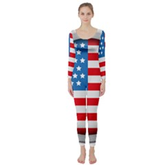 United Of America Usa Flag Long Sleeve Catsuit