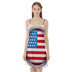 United Of America Usa Flag Satin Night Slip