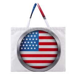 United Of America Usa Flag Zipper Large Tote Bag
