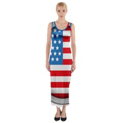 United Of America Usa Flag Fitted Maxi Dress