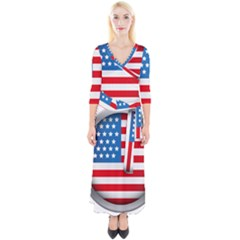 United Of America Usa Flag Quarter Sleeve Wrap Maxi Dress