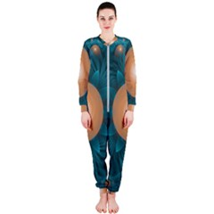Beautiful Orange Teal Fractal Lotus Lily Pad Pond Onepiece Jumpsuit (ladies)