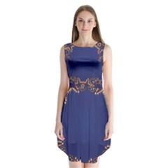 Blue Gold Look Stars Christmas Wreath Sleeveless Chiffon Dress