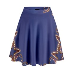 Blue Gold Look Stars Christmas Wreath High Waist Skirt