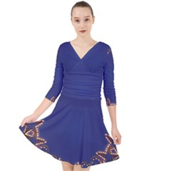 Blue Gold Look Stars Christmas Wreath Quarter Sleeve Front Wrap Dress