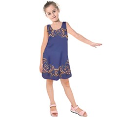 Blue Gold Look Stars Christmas Wreath Kids  Sleeveless Dress
