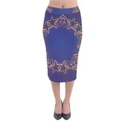 Blue Gold Look Stars Christmas Wreath Velvet Midi Pencil Skirt