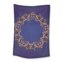 Blue Gold Look Stars Christmas Wreath Small Tapestry
