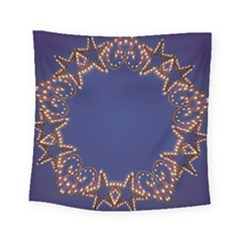 Blue Gold Look Stars Christmas Wreath Square Tapestry (small)