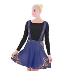 Blue Gold Look Stars Christmas Wreath Suspender Skater Skirt