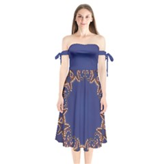 Blue Gold Look Stars Christmas Wreath Shoulder Tie Bardot Midi Dress