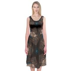 Kaleidoscopic Design Elegant Star Brown Turquoise Midi Sleeveless Dress