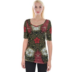 Christmas Wreath Stars Green Red Elegant Wide Neckline Tee