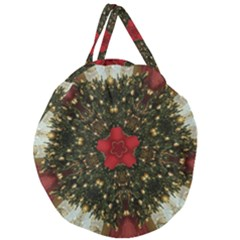 Christmas Wreath Stars Green Red Elegant Giant Round Zipper Tote