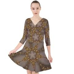 Golden Flower Star Floral Kaleidoscopic Design Quarter Sleeve Front Wrap Dress