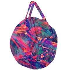 Abstract Acryl Art Giant Round Zipper Tote