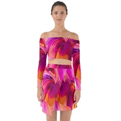 Abstract Acryl Art Off Shoulder Top With Skirt Set