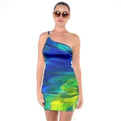 Abstract Acryl Art One Soulder Bodycon Dress