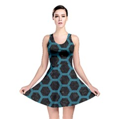 Hexagon2 Black Marble & Teal Leather (r) Reversible Skater Dress