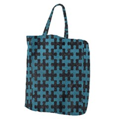 Puzzle1 Black Marble & Teal Leather Giant Grocery Zipper Tote