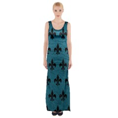 Royal1 Black Marble & Teal Leather (r) Maxi Thigh Split Dress