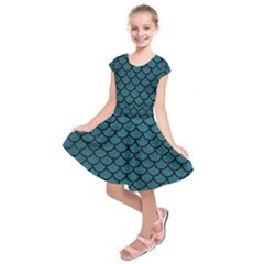Scales1 Black Marble & Teal Leather Kids  Short Sleeve Dress